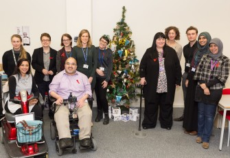 Members of the IDDP Steering Group (not all) with the IDDP Christmas tree: (left to right) Lucy, Mona, Denise, Jess, Hamied, Lydia, Sarah, Melanie, Marina, Adam, Sanaa & Yulia