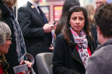 Mona Patel, from Manchester Metropolitan University, enjoying the Reception with fellow guests