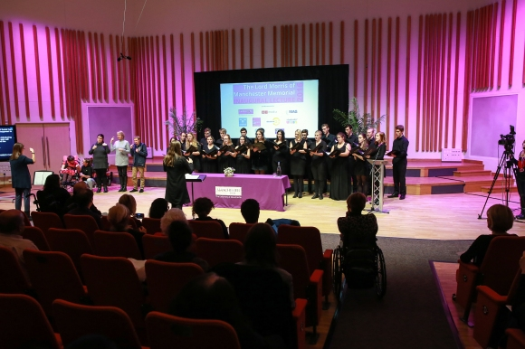 The Seashell Trust Signing Choir and Ad Solem Chamber Choir performing side-by-side
